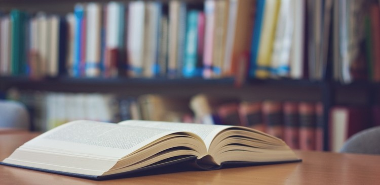 Open book in the library