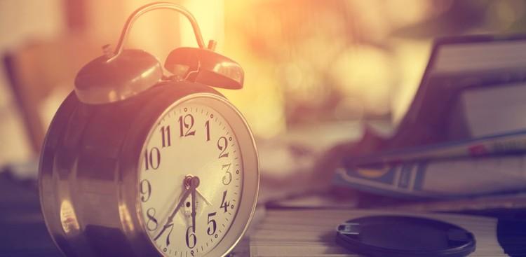 Clock at sunset