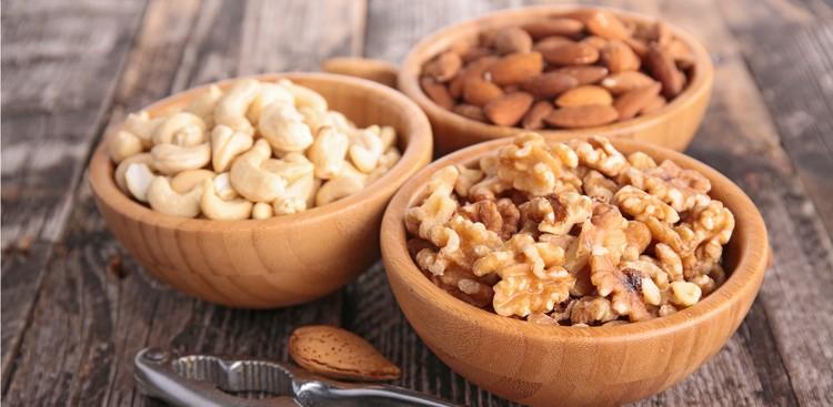 Almonds, walnuts, and cashews