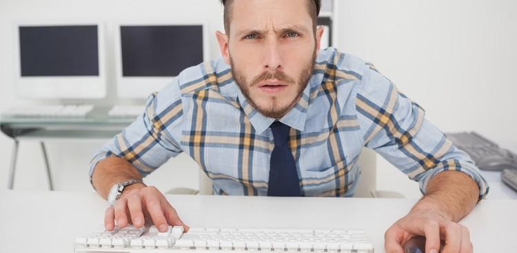 Confused man at work