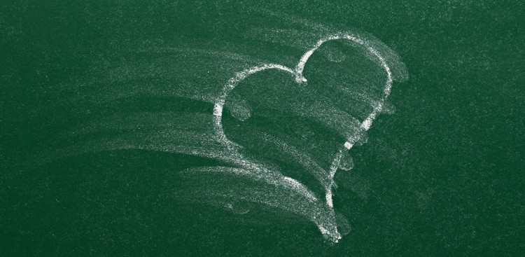 Smudged chalk drawing of heart