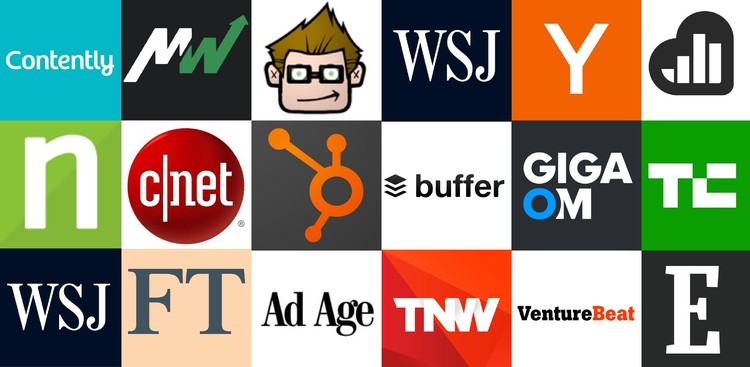 Collage of tech and business websites