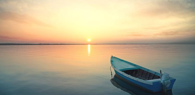 Sunset peaceful boat