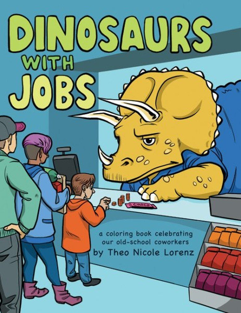Dinosaurs with Jobs Adult Coloring Book