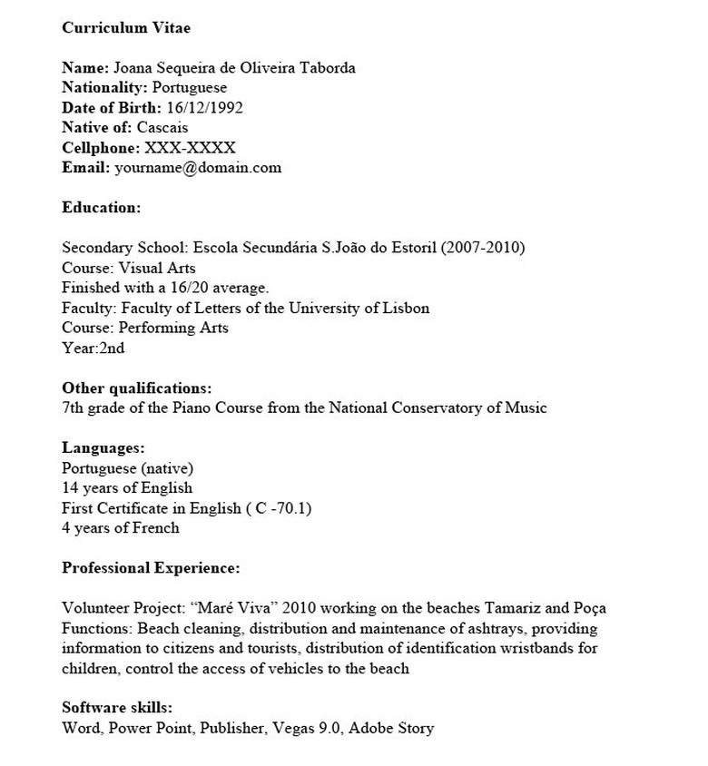 my first resume - How To Do A Resume For Work