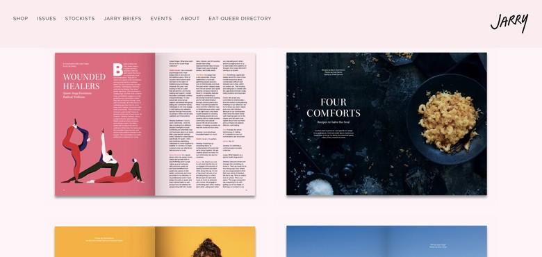 screenshot of the homepage of jarrymag.com