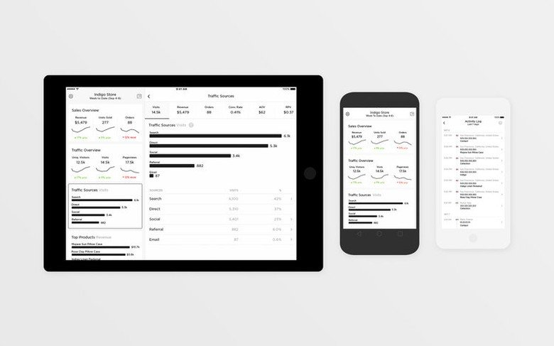 tablet and mobile phone views of squarespace analytics app
