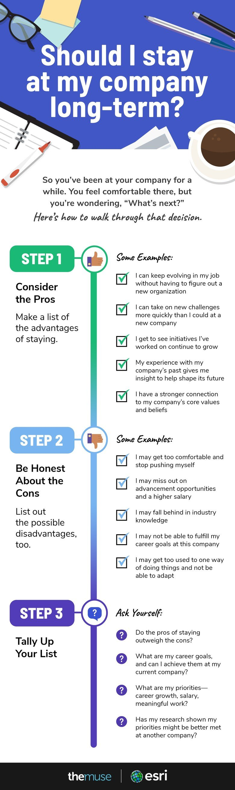 Infographic explaining 3 steps to deciding whether to change companies or stay put