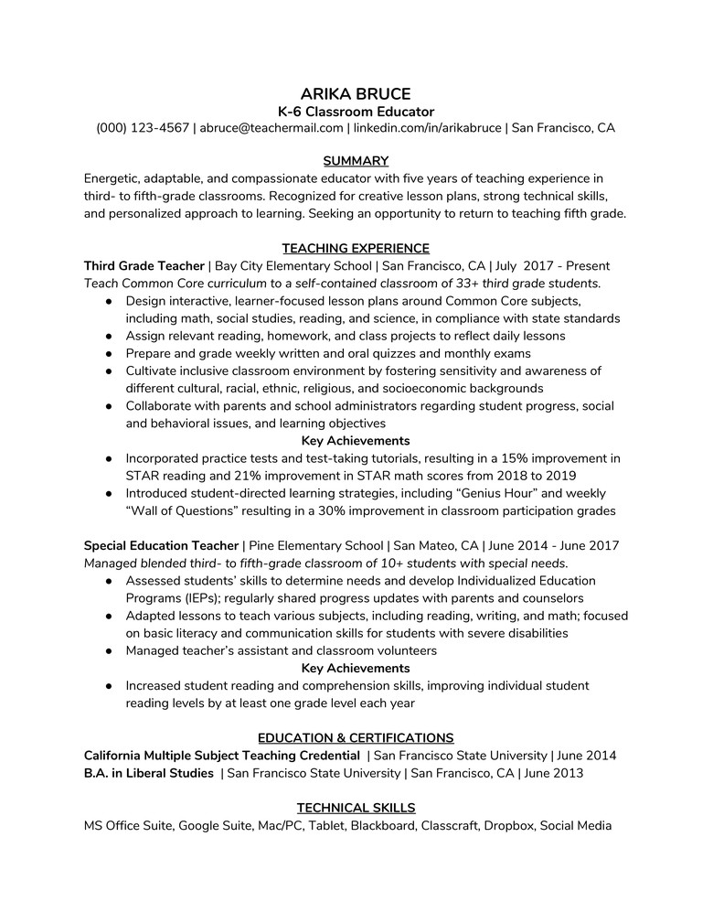 How To Write An A Teaching Resume With An Example The Muse
