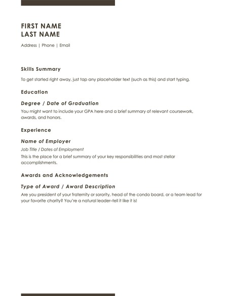 Microsoft Word basic resume template