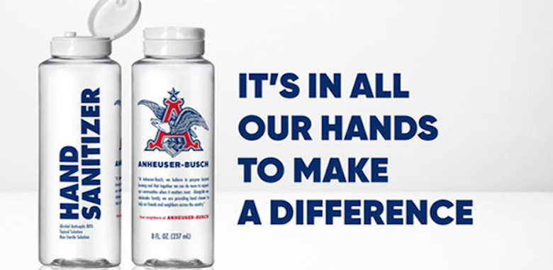 bottles of Anheuser-Busch–branded hand sanitizer