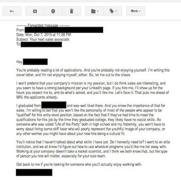 Career Guidance - Best of 2013: The Worst Cover Letter Ever Written (Literally)