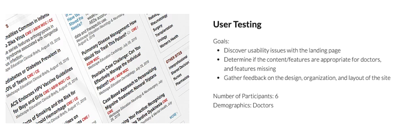 "screenshot from a case study showing a photo of a landing page for doctors, with text heading ""User Testing"" and a description of the user testing process"