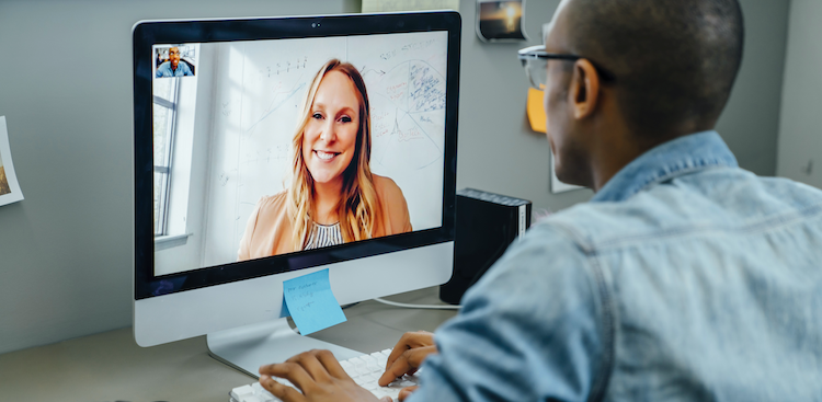 person on a video conference on their computer