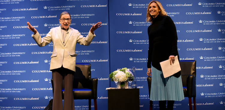 "Ruth Bader Ginsburg and Poppy Harlow at Columbia University's ""She Opened the Door"" conference"
