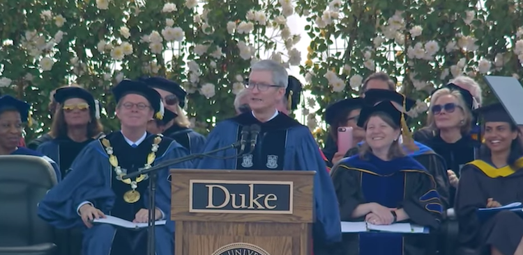 Tim Cook at Duke University in 2018