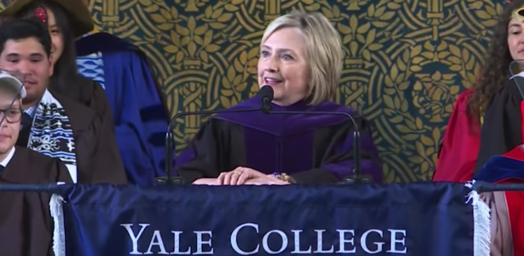 Hillary Clinton speaking to Yale's class of 2018