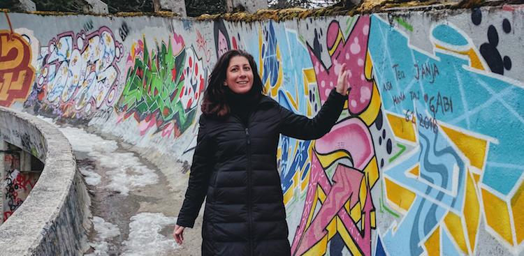 Kristin Amico visiting the bobsled track in Sarajevo in Bosnia and Herzegovina