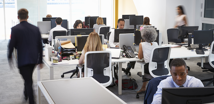 people working in a busy open office