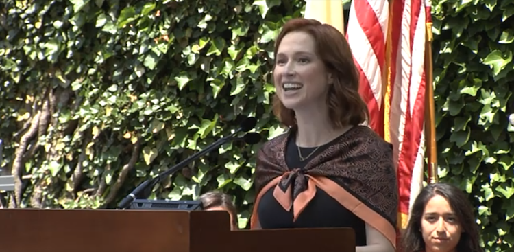 Ellie Kemper speaking to the class of 2019 at Princeton University
