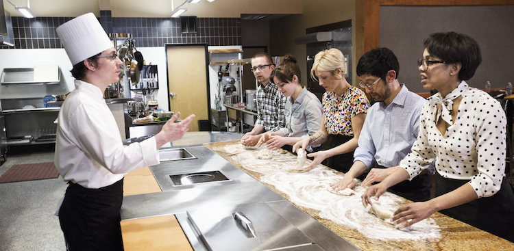 people taking a cooking class