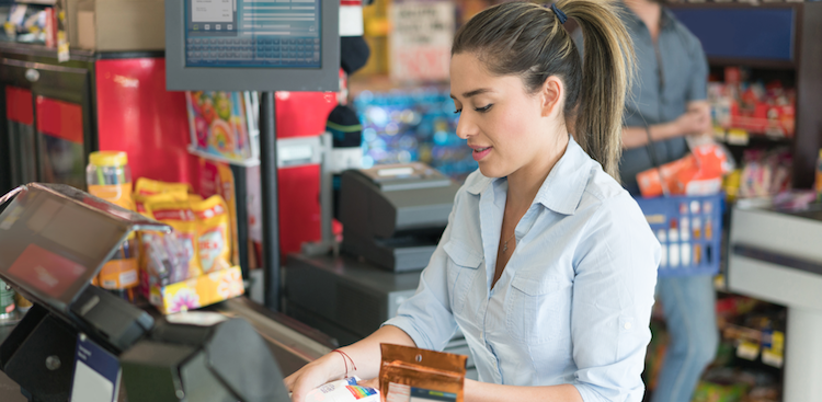 cashier working at a grocery store