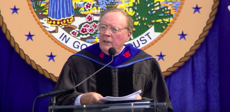 James Patterson at the University of Florida 2019 commencement ceremony