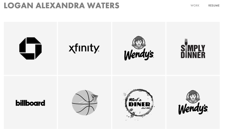 screenshot of Logan Waters' website showing a grid of black-and-white logos for Chase, Xfinity, Wendy's, and other companies