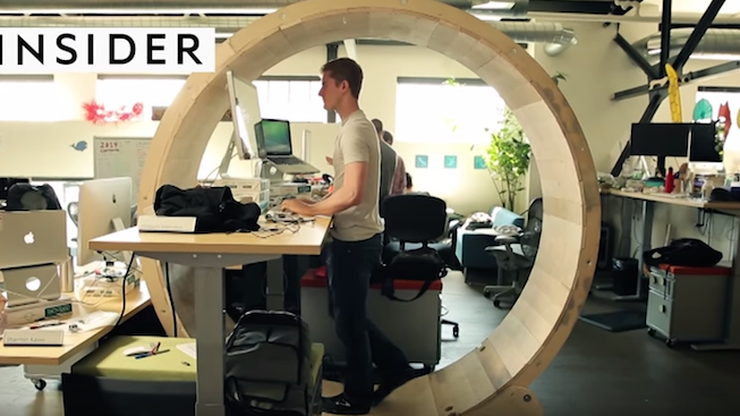 person on hamster wheel