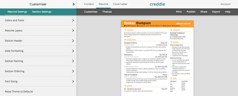 Creddle Is A Completely Free Resume Making Site That Tailor Makes An Auto Formatted Document From Your Personal Information Enter Manually Or Sync