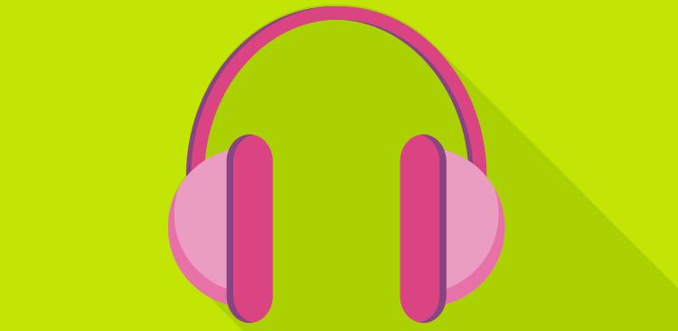 Pink headphones illustration on green background