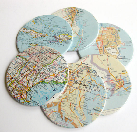 gifts for bosses: custom map coasters