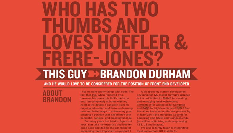 Brandon Durham one page website