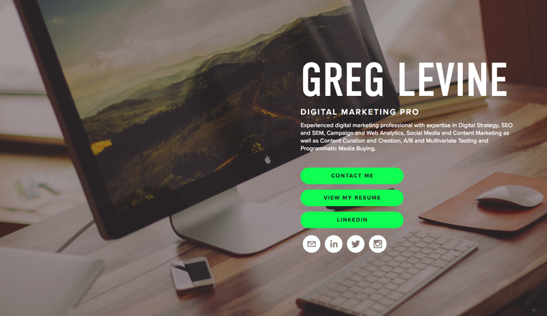 Greg Levine one page website