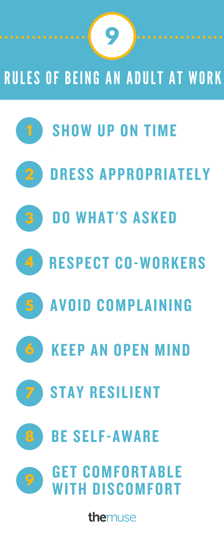 rules of being an adult at work infographic
