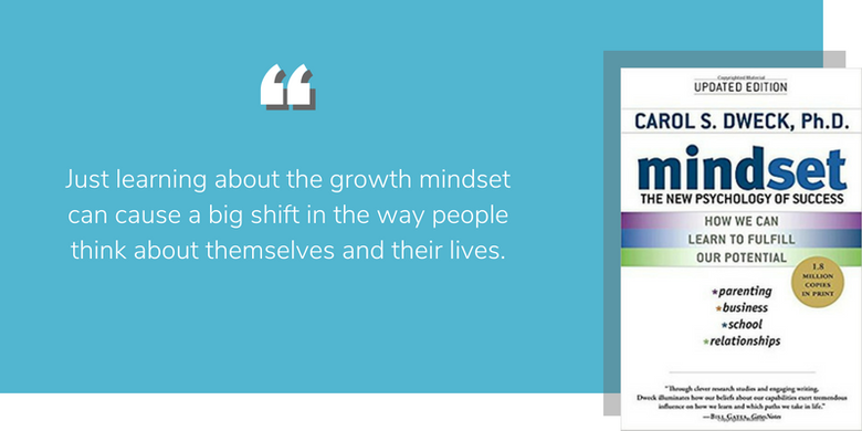 "Carol Dweck Mindset: ""Just learning about the growth mindset can cause a big shift in the way people think about themselves and their lives."""