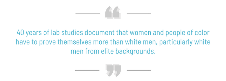 40 years of lab studies document that women and people of color have to prove themselves more than white men, particularly white men from elite backgrounds. (Joan C. Williams)