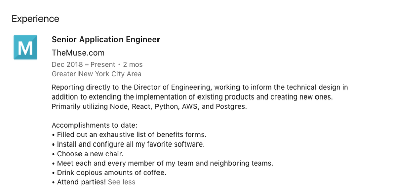 example of a LinkedIn profile for a new engineering employee