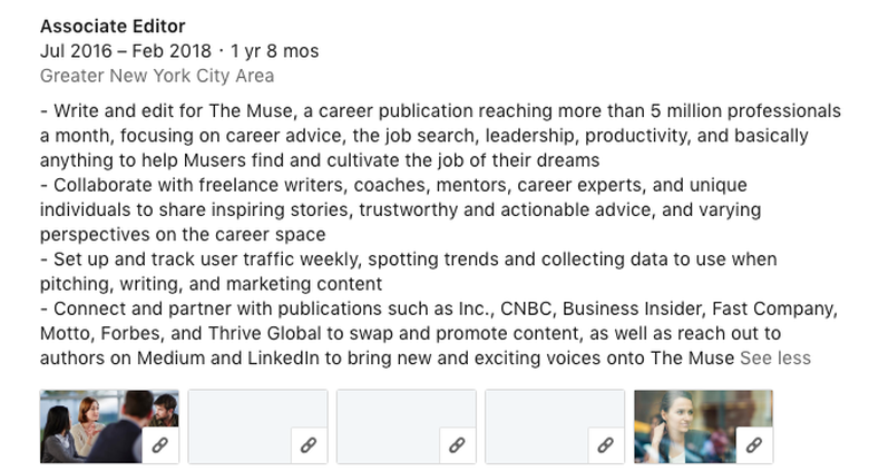 example of a LinkedIn profile of an associate editor who has held their job for two years