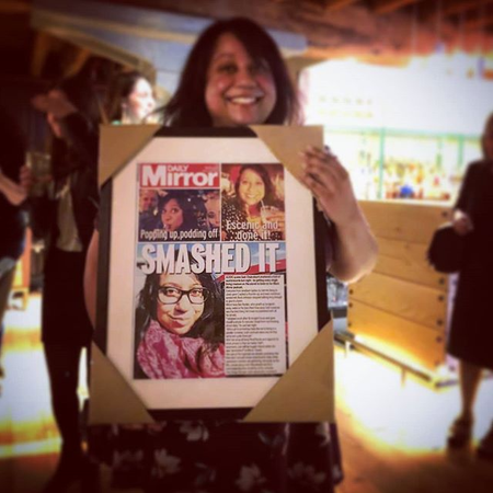 Suchandrika Chakrabarti posing with her fake front page at her Daily Mirror leaving party courtesy of Emmeline Saunders.