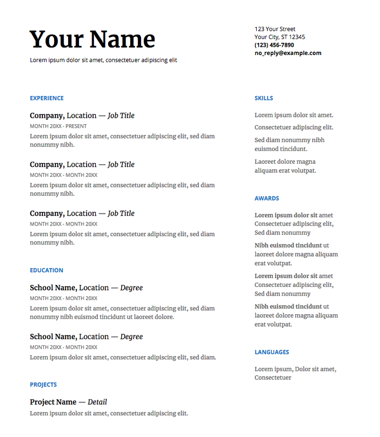 google doc resume template in serif