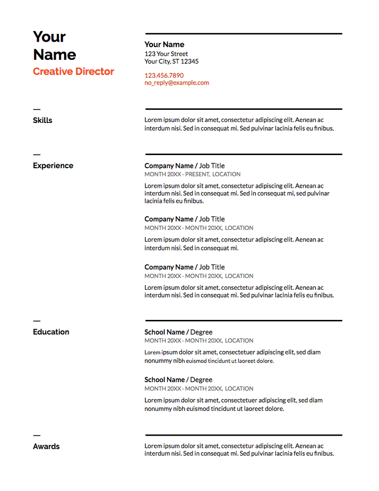 Google Doc Resume Template In Swiss