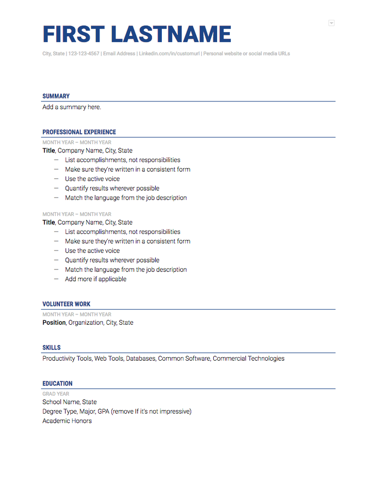 google doc resume template the muse