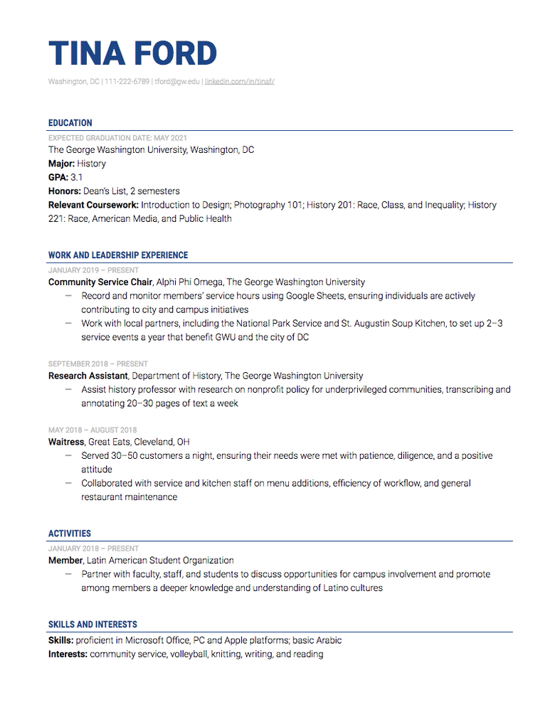 internship resume example