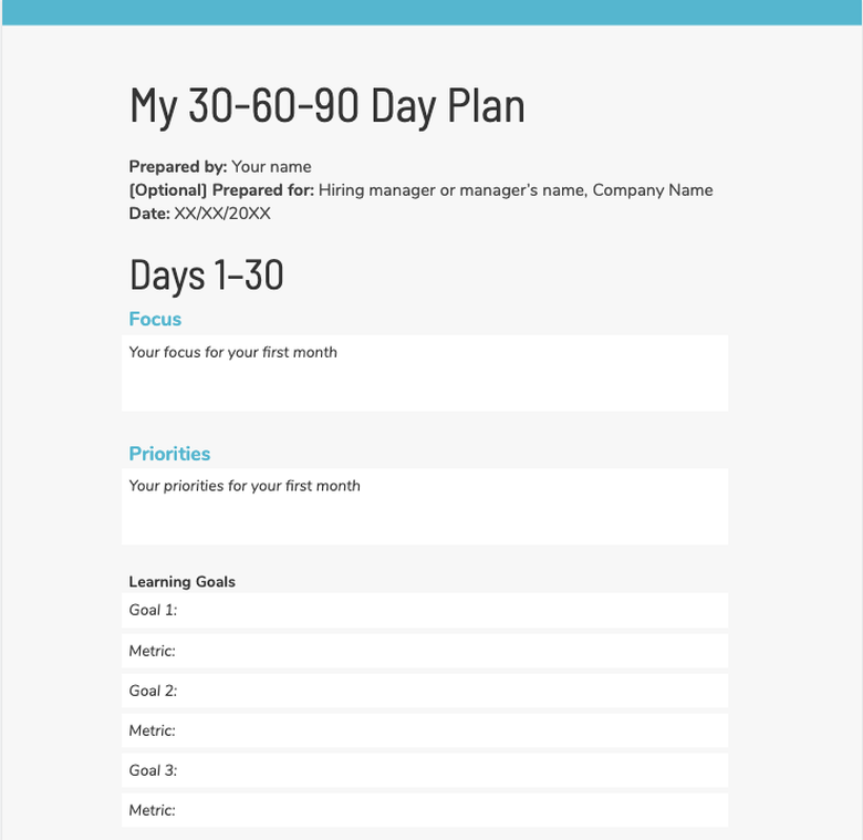 30-60-90 day plan template